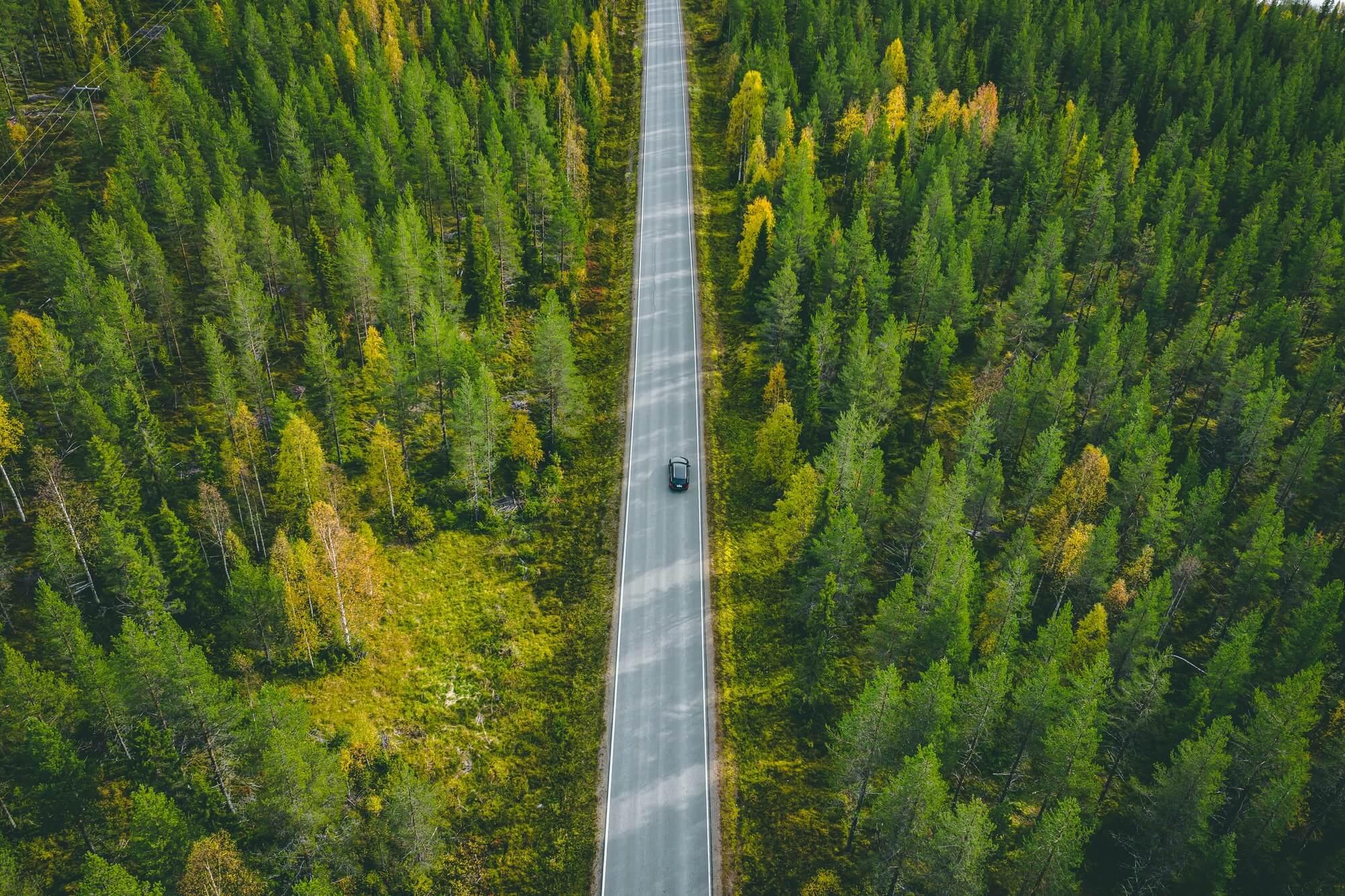 Aerial view of car on a road in green forest Miljöpåverkning taxilandskrona620
