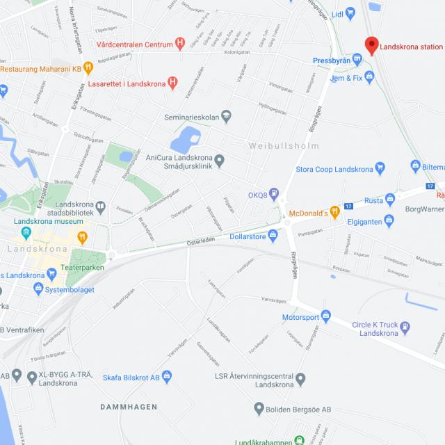 Skåne map Karta vi kör i hela Skåne taxiLandskrona620